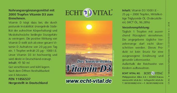 Echt Vital Vitamín D3 kvapky