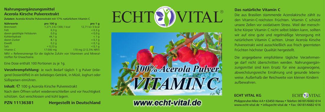 Echt-Vital Vitamín C Acerola prášok