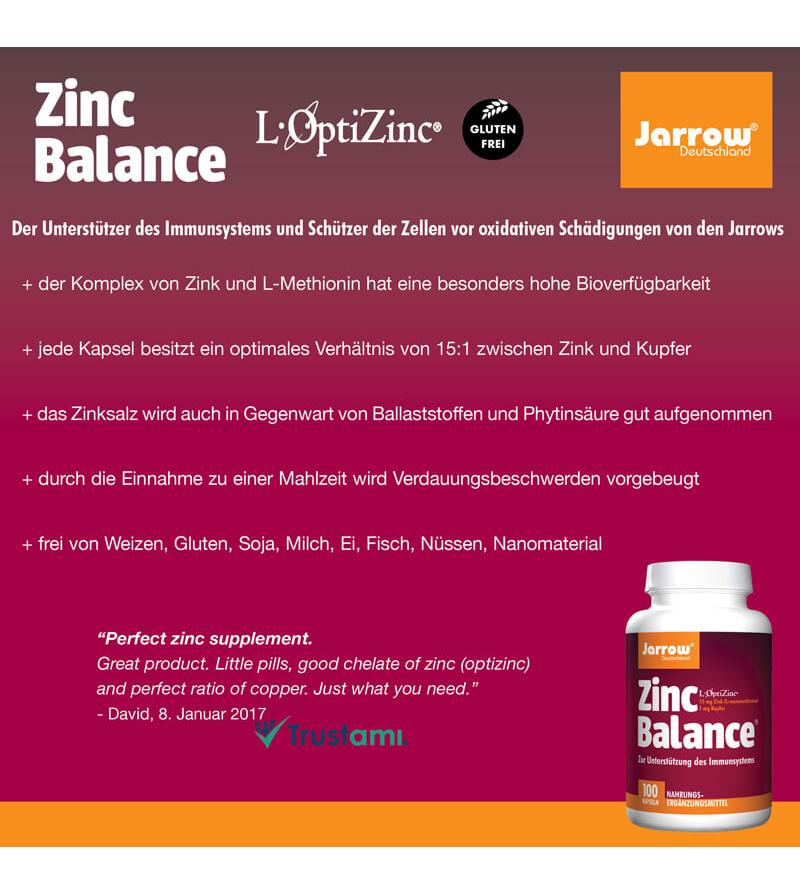 Jarrow Zinc Balance, Zinok s meďou, (15:1 mg)
